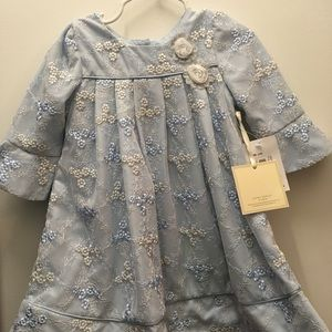Blue and white laced flower Easter dress.
